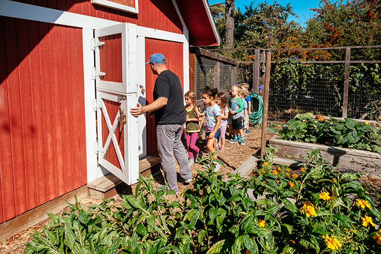 Lower School garden and barn
